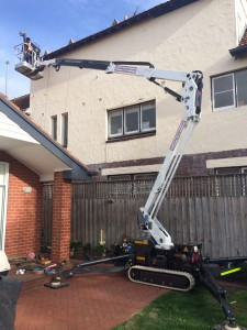 Narrow tracked difficult access  boom lift for hire